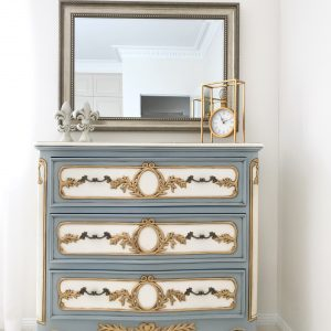 Vintage duck egg blue chest of drawers