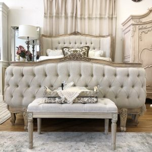 French Coquette Diamond Tufted Bed
