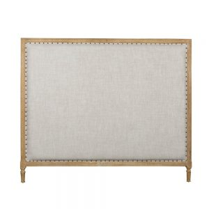 Georgian French Linen Upholstered Oak Bed Head